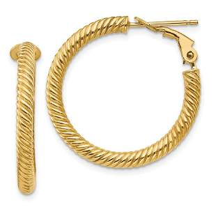 14k Yellow Gold Twisted Round Omega Back Hoop Earrings