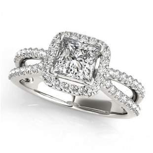 Natural 1.5 ctw Princess Diamond Halo Ring 14k White