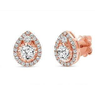 Natural 1.12 CTW Diamond Tear Drop Earrings 14KT Rose