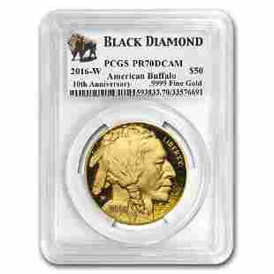 2016-W 1 oz Proof Gold Buffalo PR-70 PCGS (Black