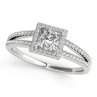 Natural 1.1 ctw Princess Diamond Halo Ring 14k White