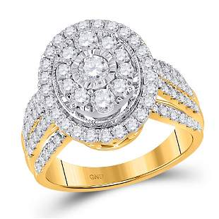 14kt Yellow Gold Round Diamond Cluster Oval Bridal