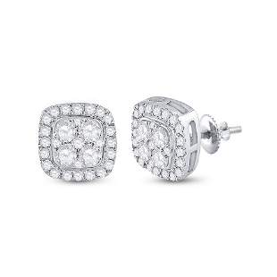 14kt White Gold Womens Round Diamond Square Earrings