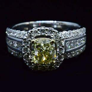 Natural 2.47 CTW Yellow Canary Cushion Cut Halo Diamond