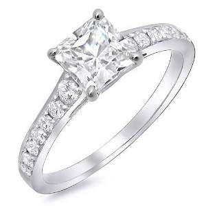 Natural 1.34 CTW Radiant Cut Diamond with Round Cut