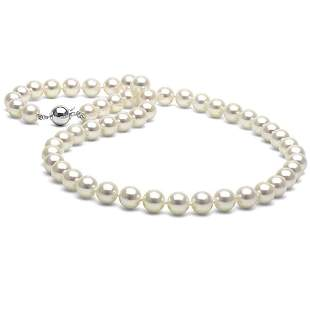 White Akoya Pearl Necklace, 7.5-8.0mm