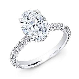 Natural 1.37 CTW Oval Cut 3-Row Pave Under-Halo Diamond
