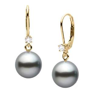 Black Tahitian Pearl and Diamond Leverback Dangle