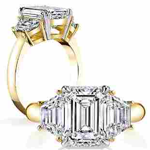 Natural 2.62 CTW 3-Stone Emerald Cut & Trapezoids