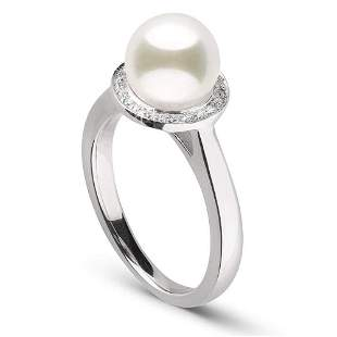 White Akoya Pearl and Diamond Halo Ring