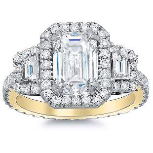 Natural 2.62 CTW Halo Emerald Cut & Trapezoids Diamond