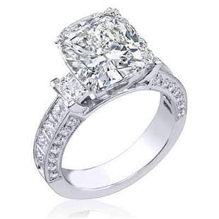 Natural 2.62 CTW Cushion Cut Diamond Engagement Ring