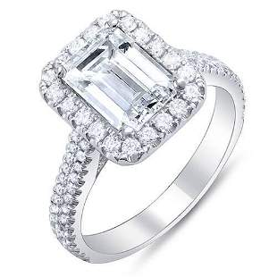 Natural 2.52 CTW Emerald Cut Halo Diamond Engagement