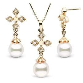 White Akoya Pearl and Diamond Cross Pendant and Earring
