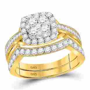 14kt Yellow Gold Round Diamond Cluster Bridal Wedding