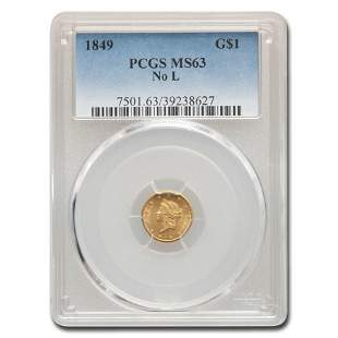 1849 $1 Liberty Gold MS-63 PCGS (No L)