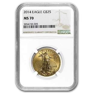 2014 1/2 oz Gold American Eagle MS-70 NGC