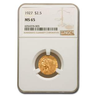 1927 $2.50 Indian Gold Quarter Eagle MS-65 NGC