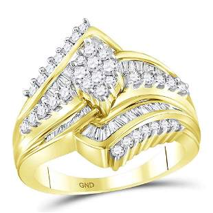 14kt Yellow Gold Round Diamond Oval Cluster Bridal