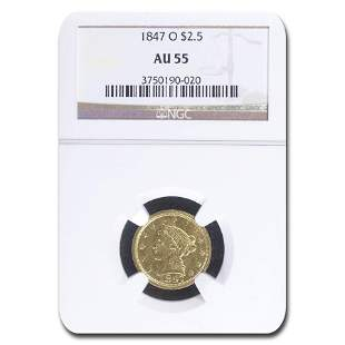 1847-O $2.50 Liberty Gold Quarter Eagle AU-55 NGC