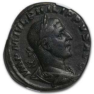 Roman Sestertius Emp. Phillip I/ Aequitas (244-249 AD)