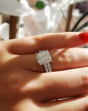 Natural 4.82 CTW Cushion Cut Diamond Engagement Set