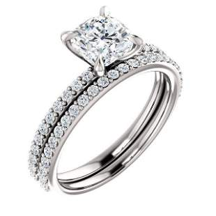 Natural 2.32 CTW Cushion Cut Diamond Engagement Set