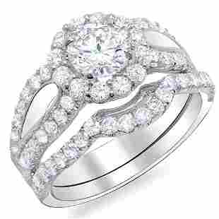 Natural 3.47 CTW Halo Round Cut U-Setting Diamond