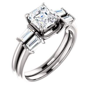 Natural 3.12 CTW Asscher Cut & Baguette Diamond Bridal