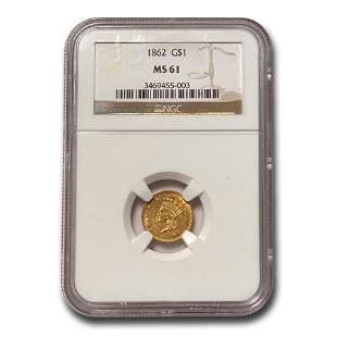 1862 $1 Indian Head Gold MS-61 NGC