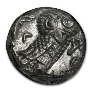 Attica Athens Silver Tetradrachm Owl (393-294 BC) AU