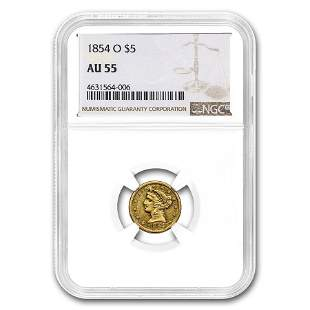 1854-O $5 Liberty Gold Half Eagle AU-55 NGC