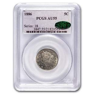 1886 Liberty Nickel AU-55 PCGS