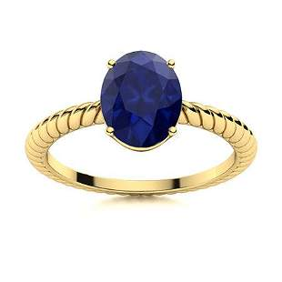 Natural 0.95 CTW Sapphire Solitaire Ring 14K Yellow