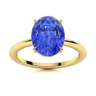 Natural 5.29 CTW Ceylon Sapphire Solitaire Ring 14K