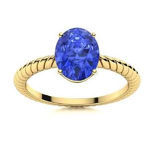 Natural 2.78 CTW Ceylon Sapphire Solitaire Ring 14K