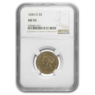 1844-O $5 Liberty Gold Half Eagle AU-55 NGC