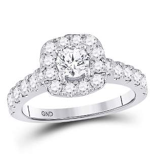 14kt White Gold Round Diamond Solitaire Bridal Wedding