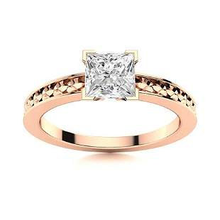 Natural 1.35 CTW Topaz Solitaire Ring 18K Rose Gold