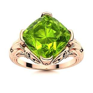 Natural 2.92 CTW Peridot Solitaire Ring 18K Rose Gold