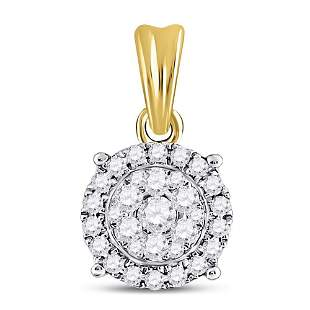 14kt Yellow Gold Womens Round Diamond Halo Cluster