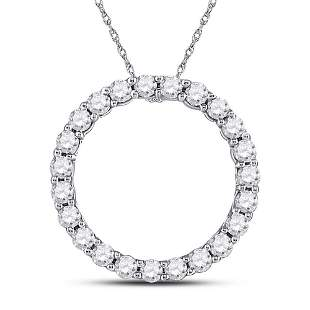 14kt White Gold Womens Round Diamond Circle Pendant 1/4