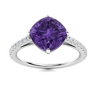 Natural 1.35 CTW Amethyst & Diamond Engagement Ring 14K