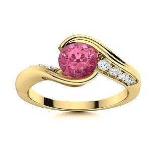 Natural 0.62 CTW Tourmaline & Diamond Engagement Ring