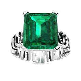 Natural 2.21 CTW Emerald Solitaire Ring 14K White Gold