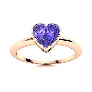 Natural 0.66 CTW Tanzanite Solitaire Ring 18K Rose Gold