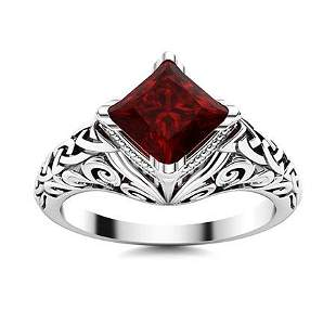 Natural 0.87 CTW Garnet Solitaire Ring 18K White Gold