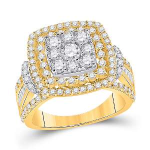 14kt Two-tone Gold Womens Round Diamond Square Cluster