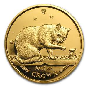 1999 Isle of Man 1 oz Gold British Blue Cat BU