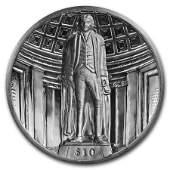 2018 BVI Silver 2 oz UHR Dished $10 Thomas Jefferson